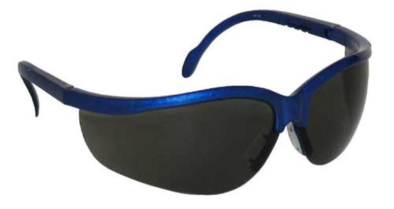 FORESTER-13 - Safety Glasses, Blue Frame, Smoke Lens