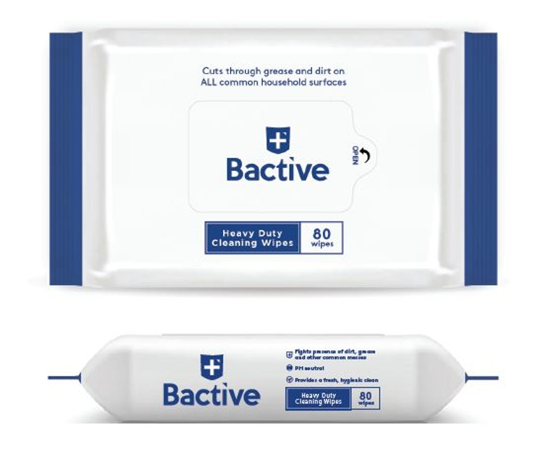 Bactive Heavy Duty Cleaning Wipes - 80 Count